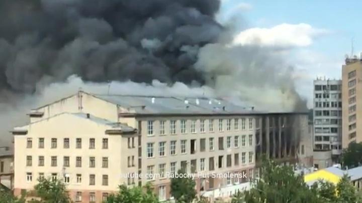 Пожар на швейной фабрике в Смоленске: есть жертвы