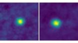 Объекты пояса Койпера: 2012 HZ84 (слева) и 2012 HE85 (справа). Снимок сделан камерой LORRI с расстояния 6,12 миллиарда километров от Земли.