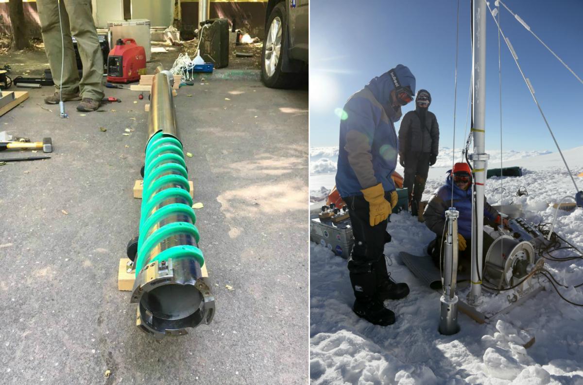 Достать керны не так просто. Получить колонны льда, по которым специалисты затем будут восстанавливать картины прошлого, помогает соответствующее оборудование.