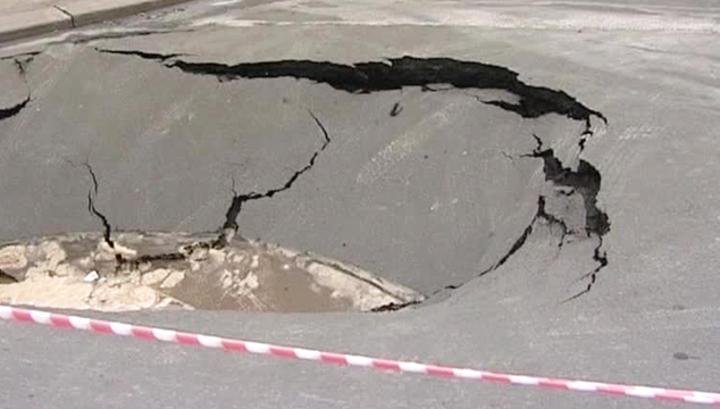 В Москве на Мытной улице произошел провал грунта