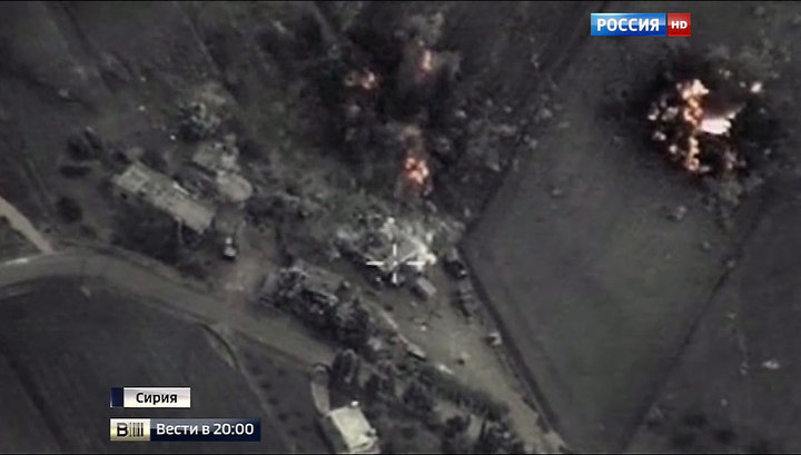 Бомбежку штаба ИГ российскими ВКС сняли на видео
