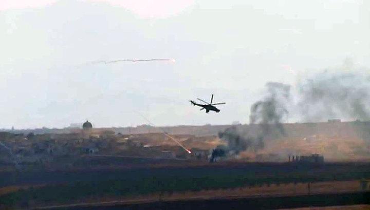 Удары российских вертолетов по ИГИЛ. Видео бойцов сирийской армии