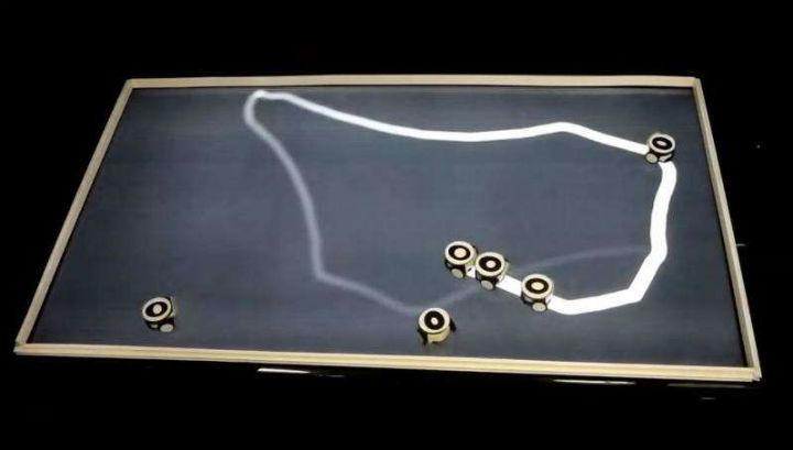 Роботы следуют за лидером по белому следу, который появляется на экране и имитирует феромоновые метки муравьёв