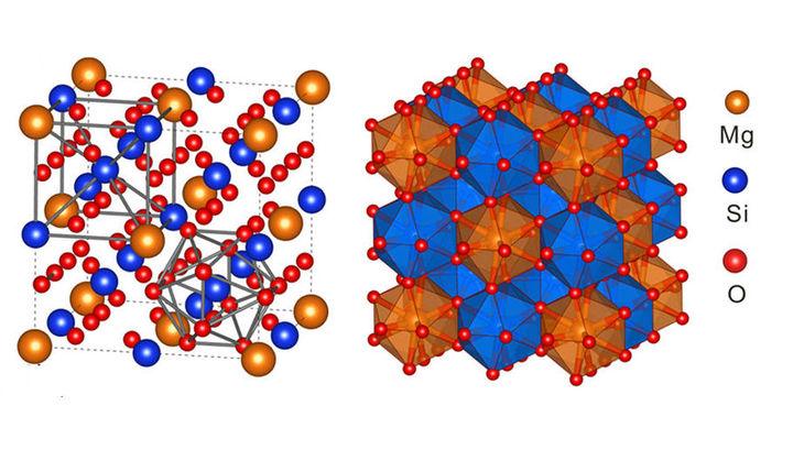 """Строение кристалла """"невозможного"""" для нашей планеты силиката магния MgSi3O12"""