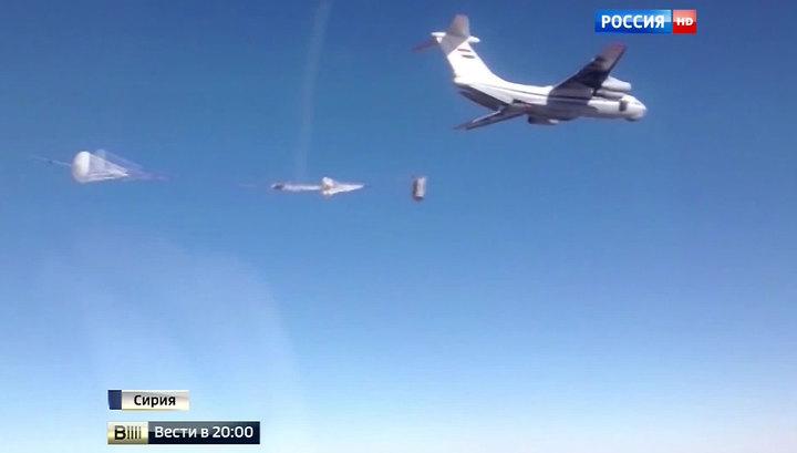 Российские Ил-76 сбросили гумпомощь в сирийский город, блокированный ИГИЛ