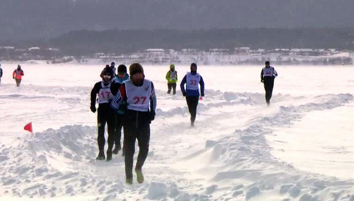 Испытание холодом: на Байкале прошел Международный ледовый марафон