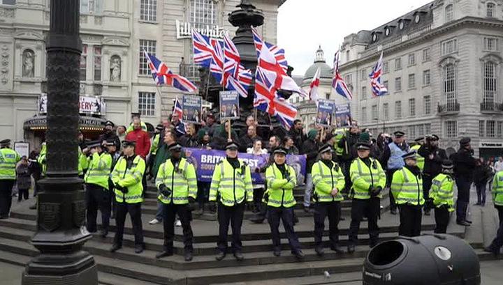 В Лондоне многотысячный митинг в поддержку беженцев обернулся столкновениями с полицией