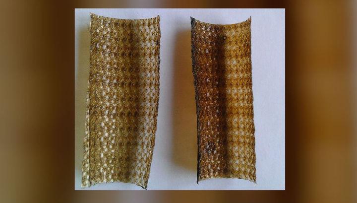 Образцы имплантатов (брюшных сеток) из полипропилена с нанесённым покрытием.