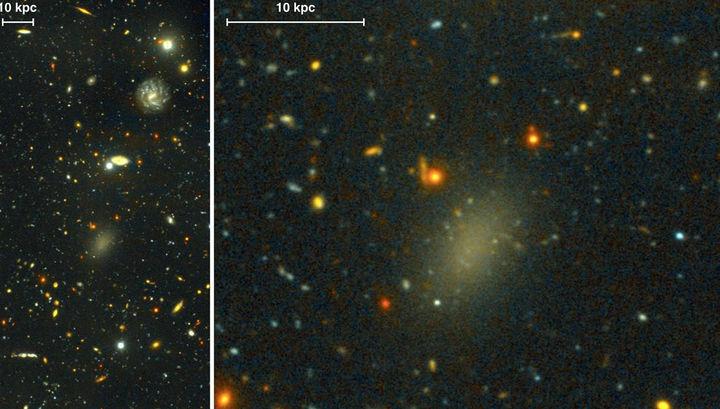 В центре изображения тусклая галактика Стрекоза 44, которая практически вся состоит из тёмной материи.
