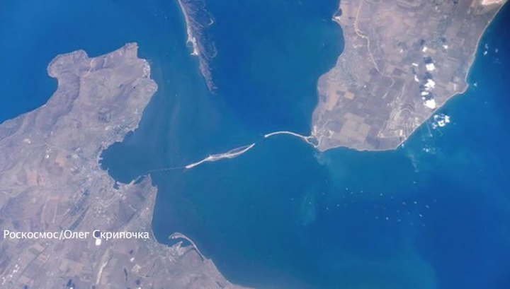 Крымский мост из космоса. Фото с борта МКС