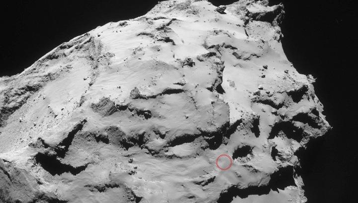 """На снимке отмечено место, куда должен приземлиться 30 сентября аппарат """"Розетта""""."""