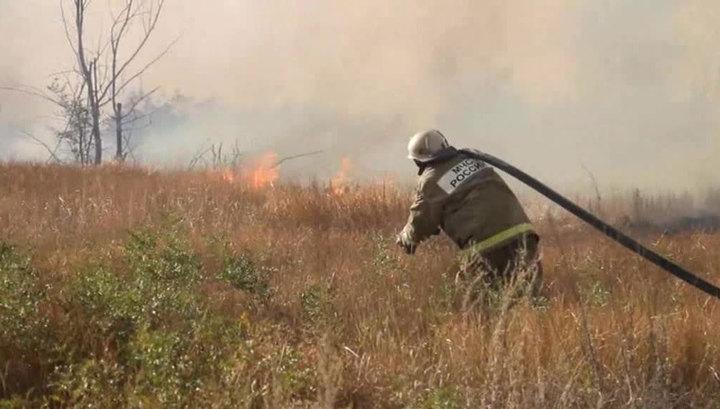 Природные пожары в Мурманской области тушат с помощью авиации МЧС