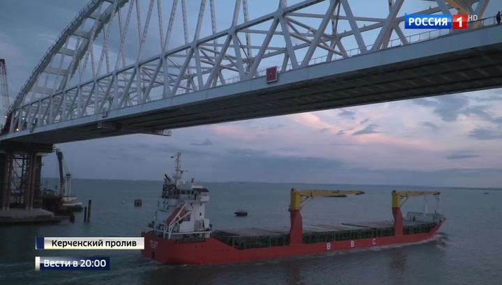 Морские ворота открыты: белоснежная арка Крымского моста села на опоры