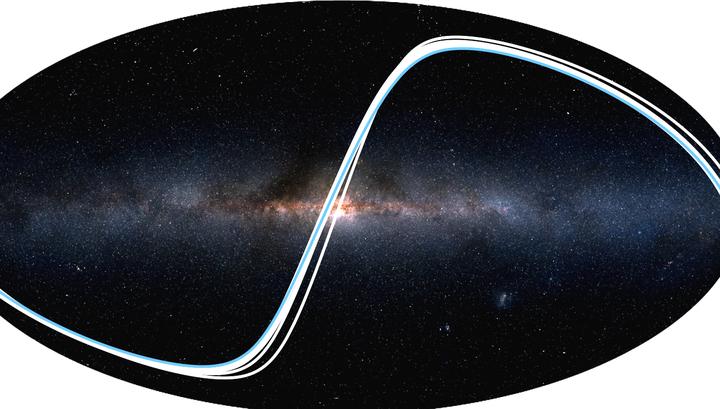 Линии показывают, из каких точек Галактики можно обнаружить транзит той или иной планеты. Синей линией отмечены точки, откуда можно наблюдать транзит Земли.