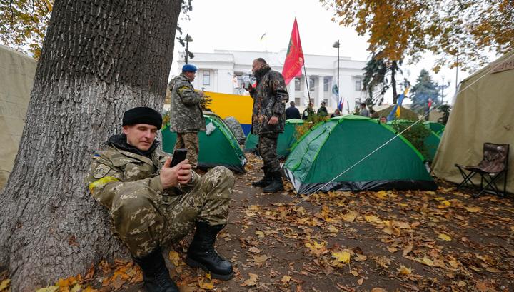 В центре Киеве произошли стычки митингующих с полицией
