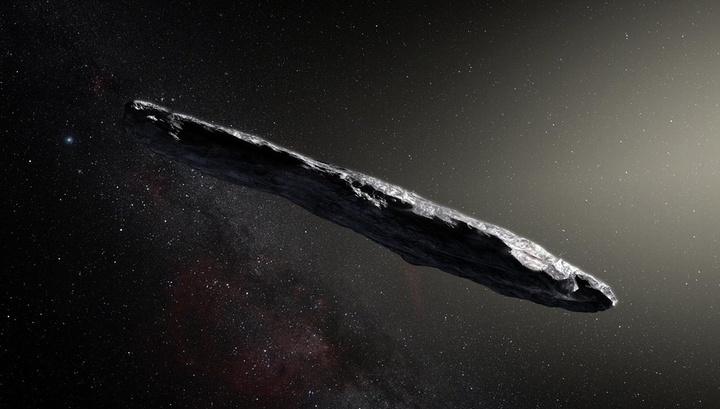Астероид 1I/2017 U1 в представлении художника.