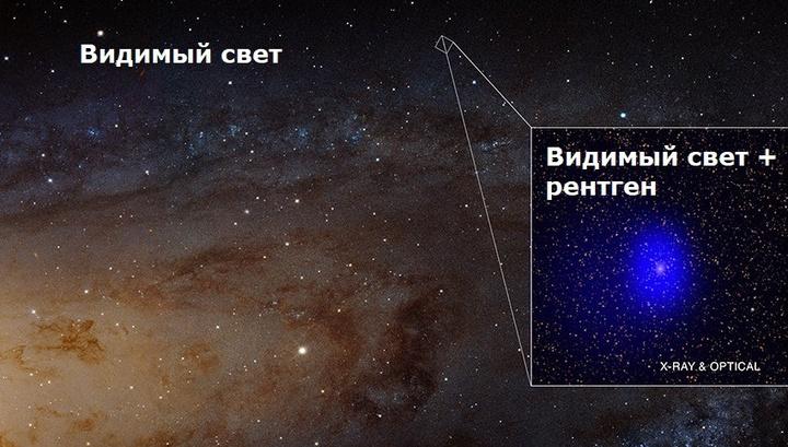 Так выглядит объект J0045+41 в видимом свете и в рентгеновских лучах.