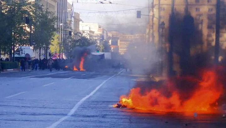 Центр Афин охвачен беспорядками