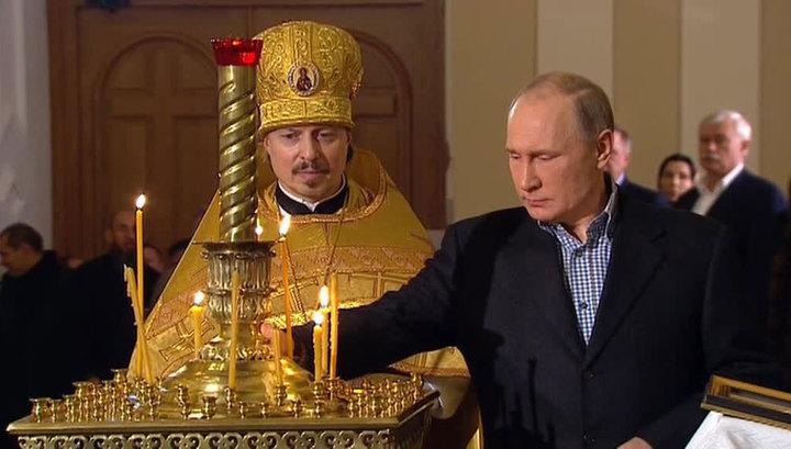 Владимир Путин посетил рождественскую службу в Симеоновской церкви в Петербурге