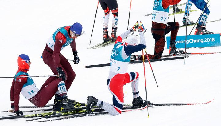 Спортсмены из России упали на старте лыжного скиатлона