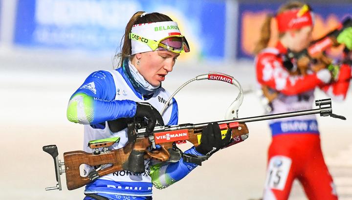 Биатлонистка Дарья Домрачева выиграла спринт в Тюмени