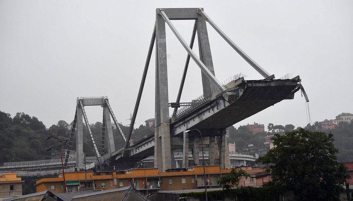 Камеры наблюдения зафиксировали момент обрушения моста в Генуе