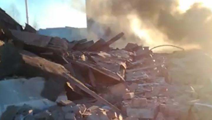 Очевидец снял на видео развалины на месте взрыва в Гатчине