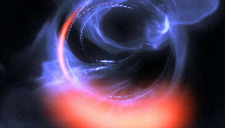 Так выглядит вспышка вещества, падающего в чёрную дыру с последней устойчивой орбиты (компьютерное моделирование).