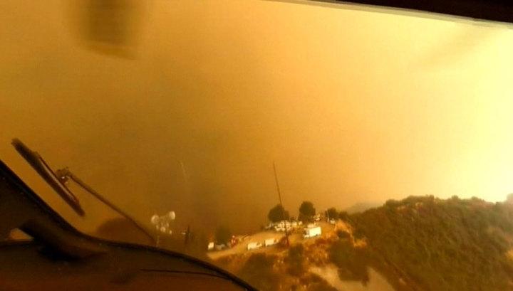 Операция по спасению людей в пылающем Малибу попала на видео