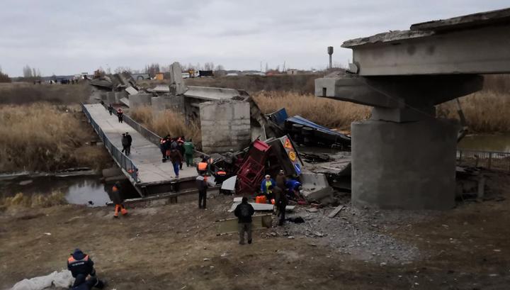 Мост под Воронежем рухнул под тяжестью двух груженых