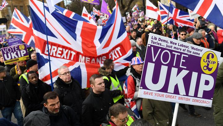 В Лондоне прошли марши сторонников и противников Brexit