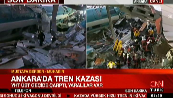 В Анкаре поезд сошел с рельсов, много пострадавших