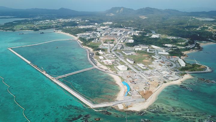На месте переноса американской базы в Японии начались строительные работы