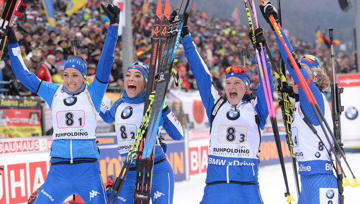 Итальянские биатлонистки выиграли женскую эстафету в Хохфильцене, Россия – 4-я