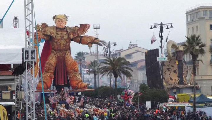 На ежегодном карнавале в Италии высмеяли имперские замашки Трампа