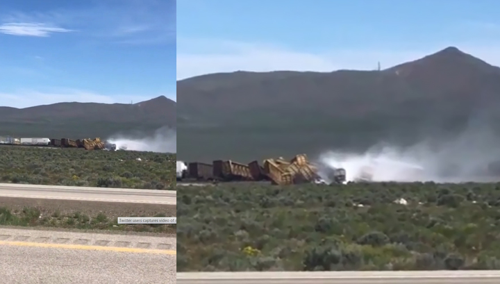 На западе США сошли с рельсов два десятка вагонов со взрывчаткой