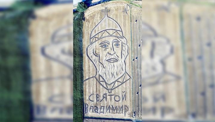К приезду Путина в Италию художник нарисовал трактором изображение князя Владимира