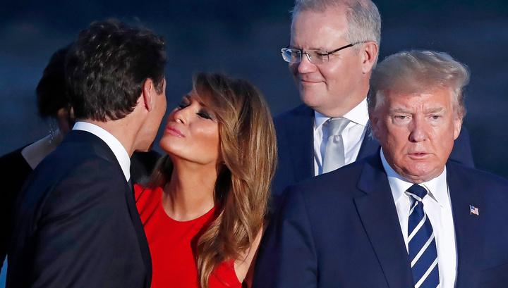Меланья Трамп поцеловалась с премьером Канады на глазах мужа
