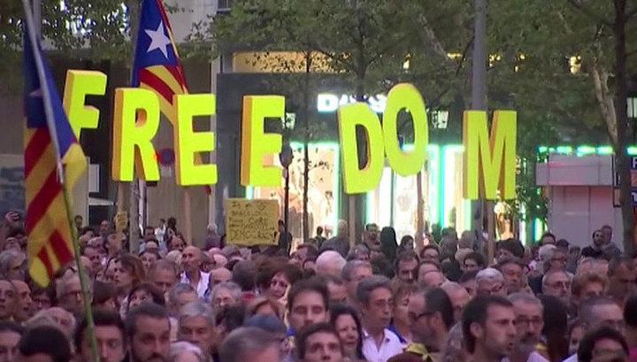В Каталонии прошли митинги в честь второй годовщины референдума о независимости региона