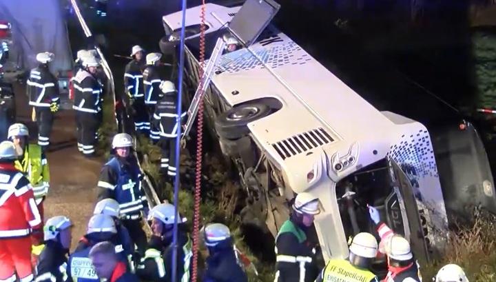 Более тридцати человек пострадали в аварии с туристическим автобусом в Германии