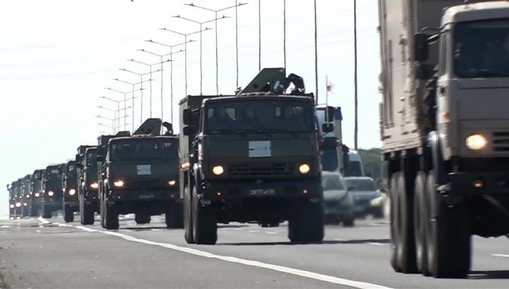 Российская колонна прошла половину пути до итальянского Бергамо
