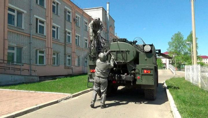 Военные проводят дезинфекцию в городе Шимановск Амурской области