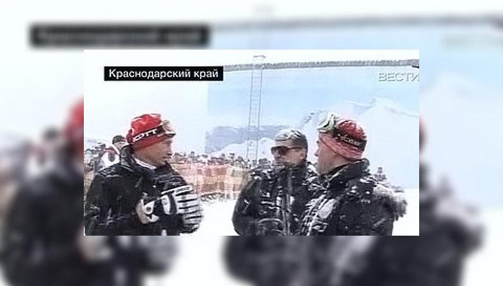 Медведев и Путин покатались на лыжах под Сочи