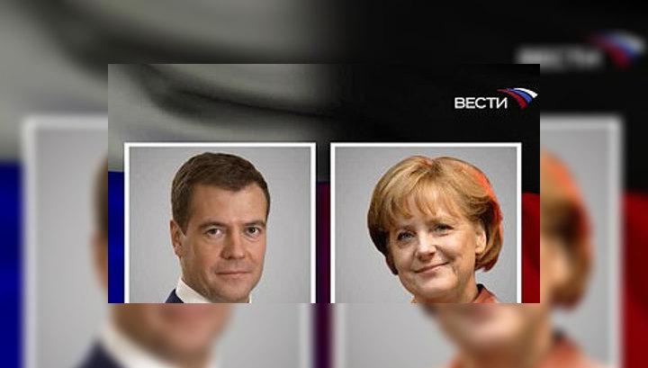 Президент России Дмитрий Медведев проведет третьи в этом году переговоры с канцлером ФРГ  Ангелой Меркель