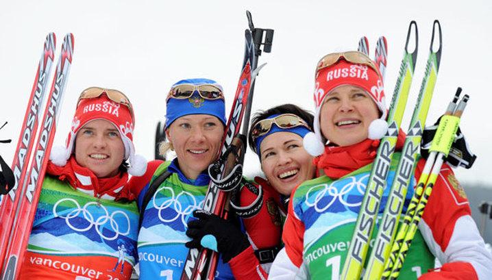 Российские биатлонистки выиграли эстафету