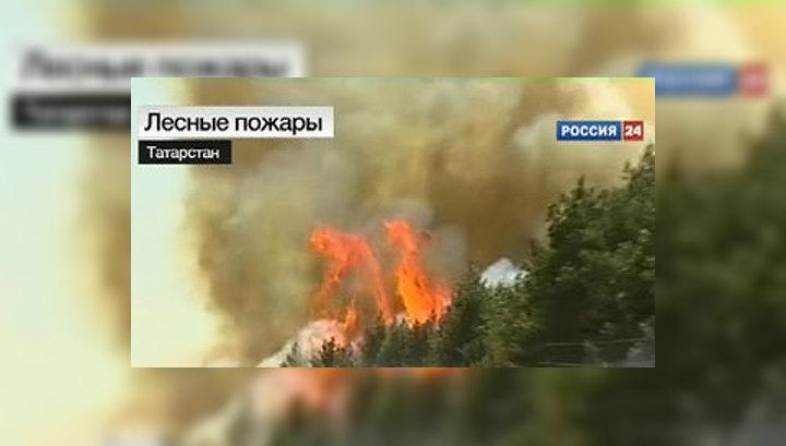 В Татарстане борьбу с пожарами ведут студенты и дельтапланеристы