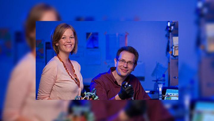 На снимке профессор Миелер (справа) и его помощница Кэрри Фортенберри (Carrie Fortenberry). Кэрри держит в руках модель самого большого искусственного белка (фото John Russell/Vanderbilt University)
