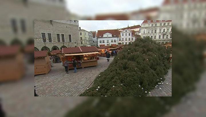 Ураган снес главную ёлку Таллина