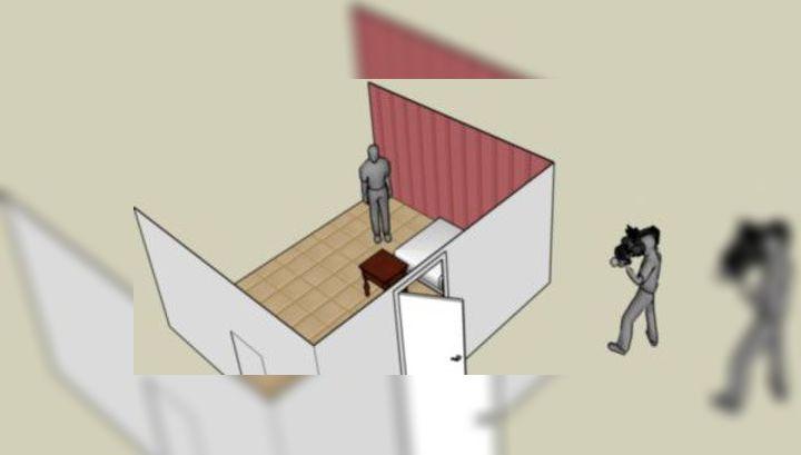Чтобы увидеть человека в комнате, наблюдатель использует приоткрытую дверь в качестве поверхности, которая будет рассеивать лазерный луч, исходящий от камеры (иллюстрация MIT).