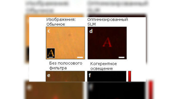"""Изображение буквы А, находящейся за рассеивающей свет пленкой, полученное без обработки, после применения модулятора и полосового фильтра, а также без него, и, наконец, подсмотренное """"из-за угла"""" (фото Ori Katz)."""